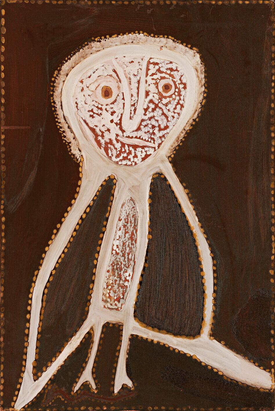 Rover (Julama) Thomas (circa 1926-1998) Owl, 1989 Natural earth pigments and natural binders (bush gum) on canvas 76cm by 50.5cm