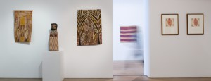 Aboriginal Masters at Olsen Irwin; Installation, bark room through to main gallery © Olsen Irwin