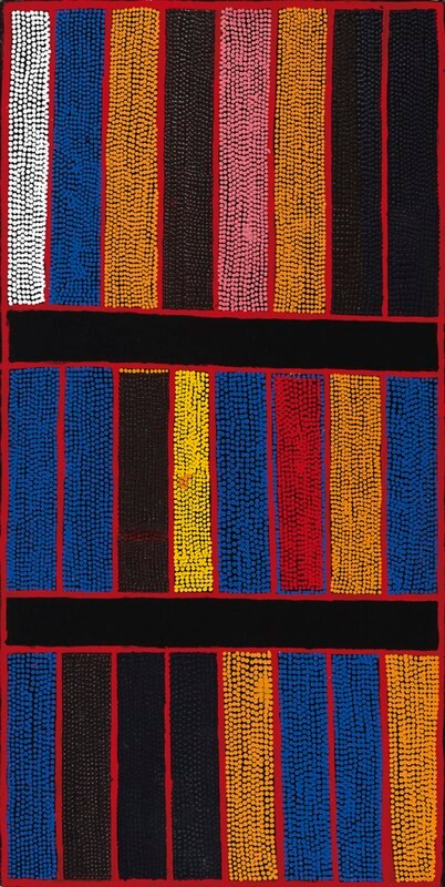 Boxer Milner Tjampitjin (circa 1934–2009) Purkitji (Sturt Creek), 2003 Synthetic polymer paint on canvas Inscribed verso with artist's name, dimensions and Warlayarti Artists cat.no.:427/03 150cm by 75.5 cm