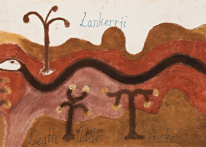 Hector Jandany (circa1925-2006) Lankerrji, Death Adder Snake, c.1984 Natural earth pigments and natural binders (bush gum) on canvas 90cm by 230cm