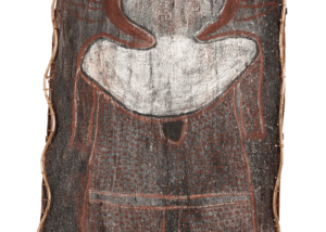 Jack Karedada (attributed to) (circa1920-2003) Untitled (Wanjina), c.1971 Natural earth pigments on eucalyptus bark 145.5cm by 67 cm (irregular) Sold to the National Gallery of Australia 2014