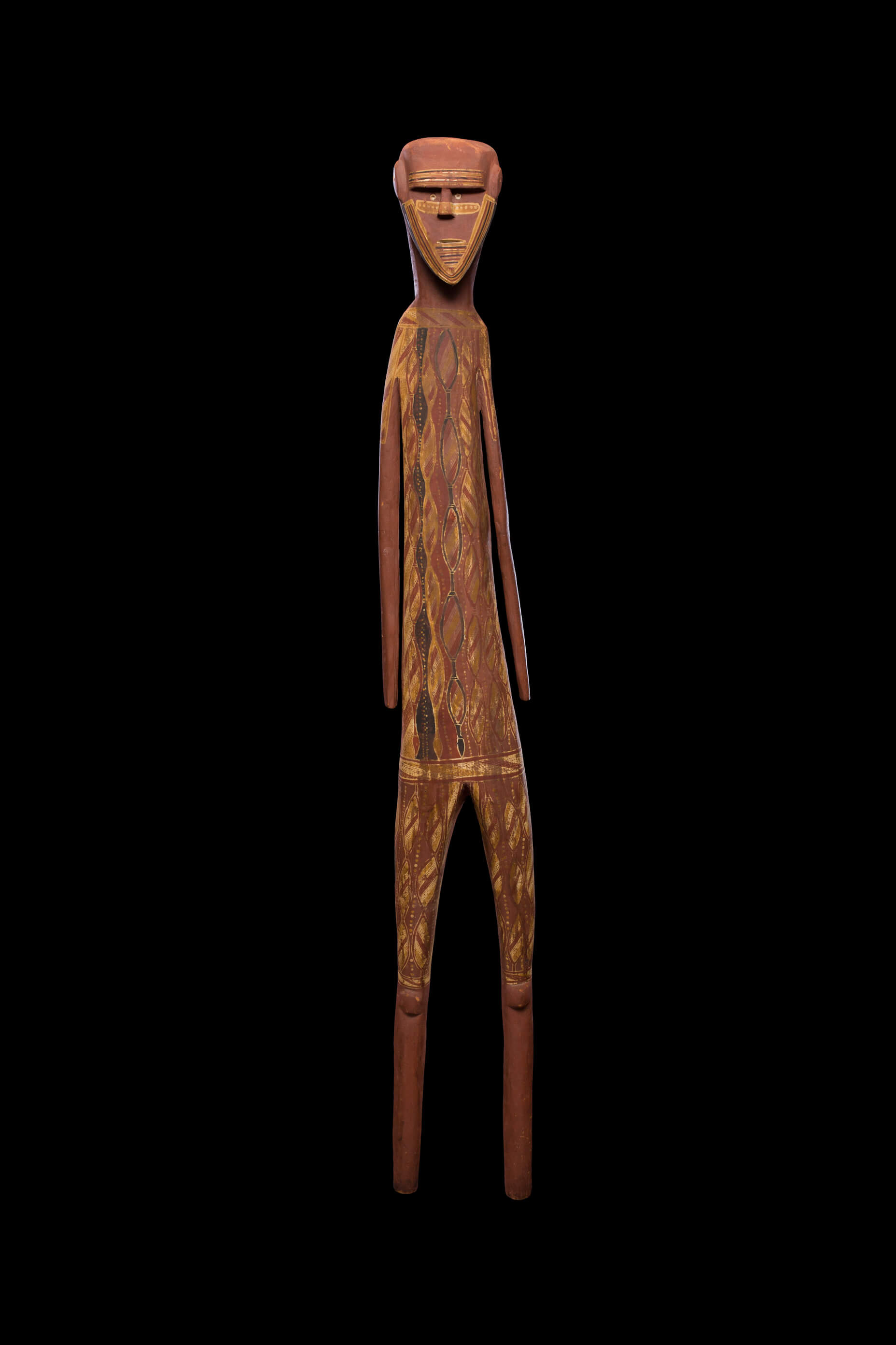 Lipundja I (circa 1912-1968) Gupapuyngu people, Milingimbi, Central Arnhem Land, Northern Territory Djalumbu Spirit, 1965 Natural earth pigments on carved softwood 205cm high