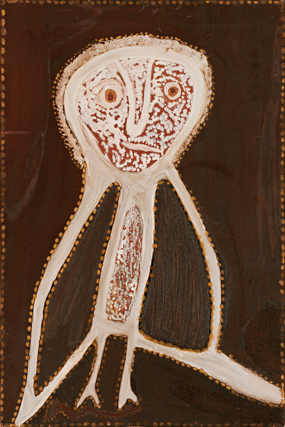 Rover (Julama) Thomas (circa 1926-1998) Owl, 1989 Natural earth pigments and natural binders (bush gum) on canvas 76cm by 50.5cm